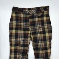 FunHouse Womens Dress Career Pants Brown Black Beige Plaid Straight Leg 33 x 30