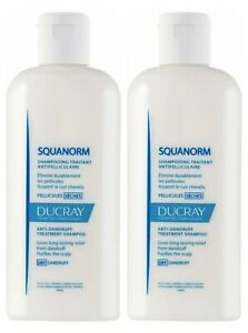 2 pack of Ducray Squanorm Anti-Dandruff Shampoo 200 ml for dry dandruff relief