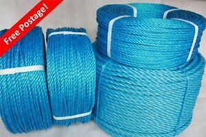BLUE POLYPROP FREE POST NYLON ROPE 6,8,10,12,16,18,24 TARPAULIN LORRY DIY B1