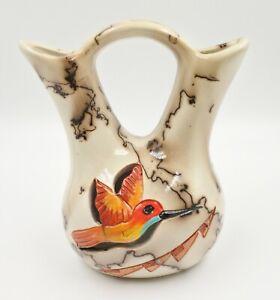 Handmade Ceramic Wedding Vase  Horse Hair Pottery Hummingbird By Gina Arrighetti
