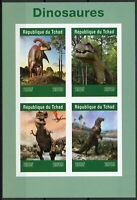 Chad 2019 MNH Dinosaurs T-Rex 4v IMPF M/S Dinosaur Prehistoric Animals Stamps