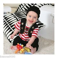 Boys Deluxe Baby Toddler Buccaneer Striped Pirate Fancy Dress Costume Outfit New