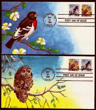 2 Different Nina Enroth H/D, Hand Painted with Oils Fdc : 1988 Owl and the Finch