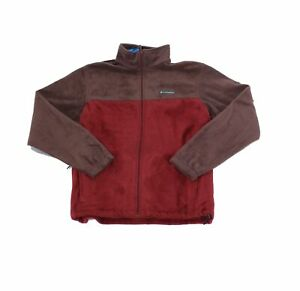 Columbia Mens Fleece Jacket Red Size Large L Steens Mountain Colorblock $60 #043
