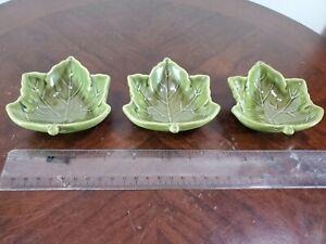 3 Pottery Barn Small Leaf Bowls Ceramic Green