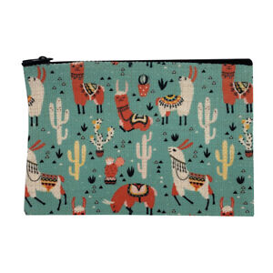 Southwestern Llama Small Linen Zippered Pouch Coin Purse Cosmetic Makeup Bag