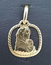 Miran 800128 18k Yellow Gold Cut-Out Madonna Medallion Pendant 1.2g RRP $269