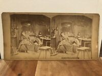"""Stereoview Photo Card """"The Dream of Hope"""" Mother & Child in Early Living Room"""