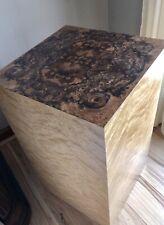 Mid Century Walnut Burl Retro Cube End Table 1960s 1970s Birdseye Maple Pedestal