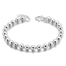 Cute Silver Plated Chain Bracelets New Beads Bracelet Heart Pendant Bangles CC