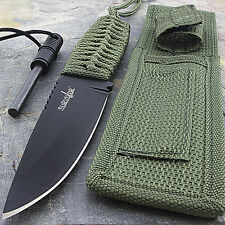 "8"" TACTICAL COMBAT HUNTING FIXED BLADE KNIFE w/ FIRE STARTER Throwing Survival"