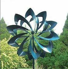 Kinetic Windmill Brilliant Bloom Garden Wind Spinner - Blue