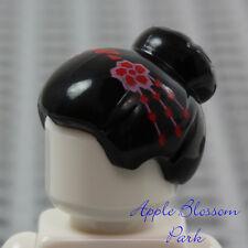 NEW Lego Female Minifig BLACK BUN HAIR -Asian Flower Top Knot Short Head Gear