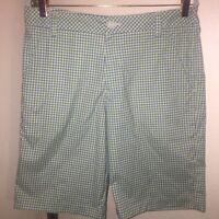 SAMPLE Men's PUMA GOLF Shorts SZ 32 PERFECT - Cool Square Plaid w/Green & Blue