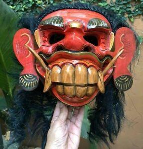 Mask Barong Dance Gamelan Bali Rangda Demon Hindu Wood Hair Carved Wearable Art