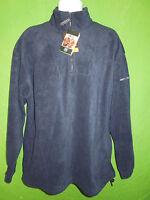 Result men long sleeve navy blue fleece sweatshirt jacket 1/4 zipper size L