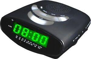 Lodging Star Bedroom Alarm Clock Radio with MP3 Connectivity Green LED Display