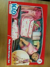 Kid Connection Pink Cherry Baby Doll Stroller Play Set Extra Clothes Diaper bag