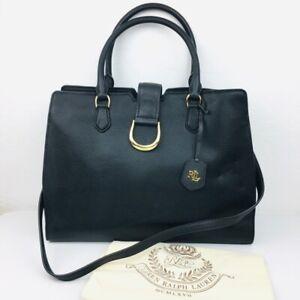 LRL Ralph Lauren Carryover Handbag Black Dual Handle Phone Pocket Laptop New