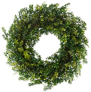 The Wreath Depot Arbor Artificial Boxwood Wreath 22 Inch, Year Round Full Green