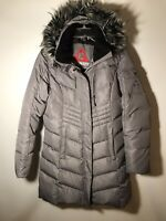 Gerry Women's M Heavy Down Filled Sara Parka Coat -Faux Fur Hood Silver/Gray-NEW