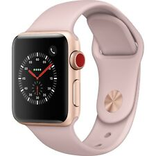 Apple Watch 38MM, Series 3 Gold Aluminum Pink Sand Sport GPS Cellular MQJQ2LL/A