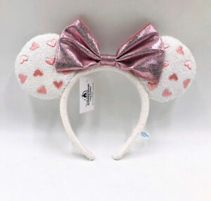 Pink Bow New Kids Gift 2021 Minnie Ears Disney Parks White Heart Sequin Headband