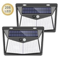 208 LED Solar Power PIR Motion Sensor Wall Light Waterproof Outdoor Garden Lamp