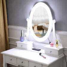 FCH With Light Bulb Single Mirror 5 Drawer Dressing Table White