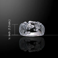 Wolf Love Kiss .925 Sterling Silver Ring by Peter Stone Jewelry