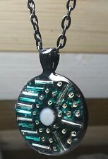 Black Mother of Pearl Resin Crystal Pendant Beaded Necklace Green Beaded Silver