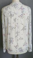Per Una cream floral blouse top crochet trim v neck notch grandad collar UK 10