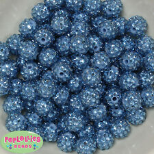 14mm Ocean Blue Rhinestone Resin Bubblegum Beads Lot 20 pc.chunky gumball
