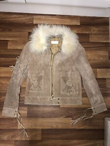 VINTAGE SUEDE LEATHER CREAM WHITE MONGOLIAN AFGHAN FUR COLLAR JACKET SIZE 6 8