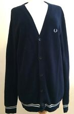 FRED PERRY Mens Cardigan Size M Navy Blue Ribbed Cotton Retro Preppy Indie