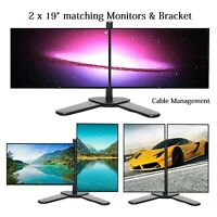 2 x Dell 19 inch WideScreen Monitor + DUAL STAND Cheap Gaming Monitor PC VGA DVI