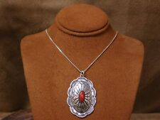 Southwestern Sterling Silver Coral Concho Necklace