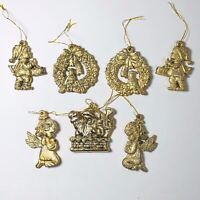 Vintage Gold Plastic Christmas Ornaments Holiday Theme 2in High Lot of 7