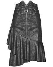 Punk Rave Womens Gothic Dieselpunk Skirt Black Cracked Faux Leather Asymmetrical