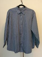 APT 9 Mens Blue and White Striped Button Front Long Sleeve Shirt Size 4XB