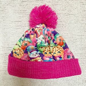 Shopkins George Hat Pink Multi Bobble Pom Pom Glitter Winter Warm Age 4-8 Girls