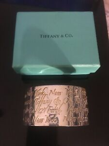 Tiffany & Co 1997 Wide Cuff Bracelet Solid 925 Silver New York Address RARE