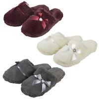 Ladies Women Mule Slippers Memory Foam Faux Fur Diamante Indoor FOREVER DREAMING