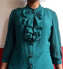ITALIAN BRAND MAX&CO PURE SILK BLOUSE WITH A RUFFLES AND BUTTONS IN SIZE 10UK