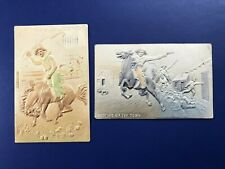 2 Nice Embossed & Air Brushed Cowboy Western Antique Postcards For Collectors