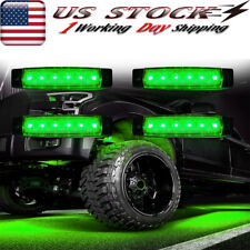 4 X Led Rock Lights For Jeep Offroad Truck Utv Fender Underbody Green Lights