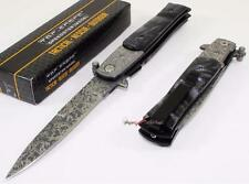 TAC-FORCE Damascus Etched Godfather Stiletto Spring Assisted Opening Knife