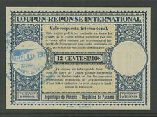 PANAMA REPLY PAID COUPON IRC 12c LONDON TYPE...VERY FINE + CLEAN