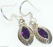 925 Sterling SILVER Purple AMETHYST Earring, Cut Gem ANTIQUE luk Dangle Earrings