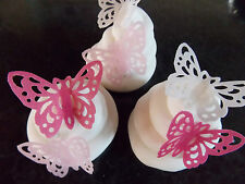 15 PRECUT Pink Mix Edible wafer/rice paper Butterflies cake/cupcake toppers